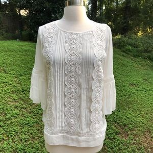 Loft Embroidered Sheer Bell Sleeve Blouse
